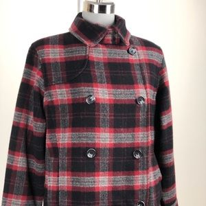 Woolrich Double Breasted Plaid Peacoat